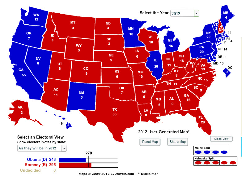 electoral college projection 2012