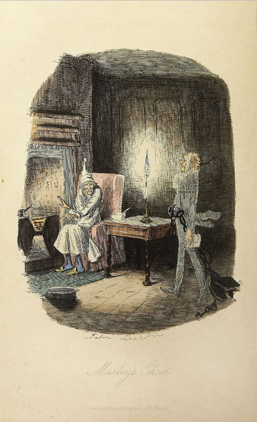 "Marley's Ghost from Charles Dickens' ""A Christmas Carol In Prose - Being A Ghost Story of Christmas"" with Illustrations by John Leech"
