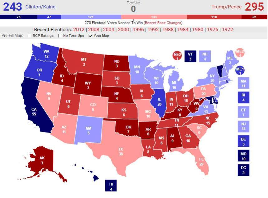 2016 US Presidential Election Electoral College Projection Map - William Stickevers and Political Contest Horary Dream Team