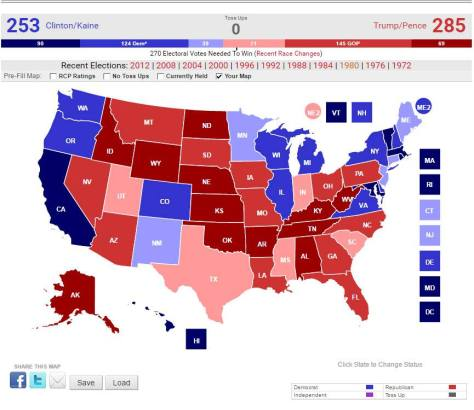 Electoral College Map Predictions - Astrology - 2016 U.S. Presidential Election