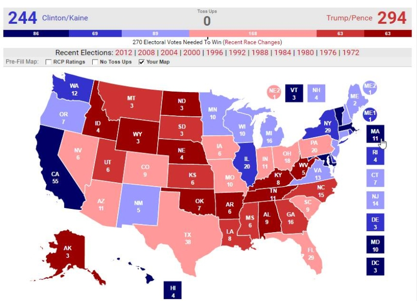 Map of the AstroProbability Projections for the 2016 Presidential Election - Astrology and Politics