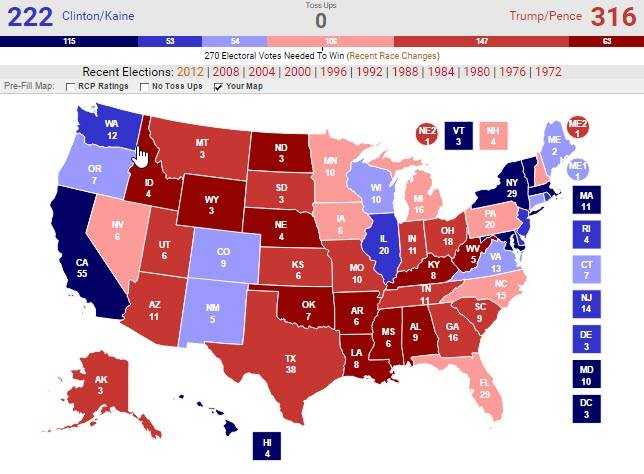 Astrology And Politics 2016 US Presidential General Election - Map Of Us Without Electoral College 2016