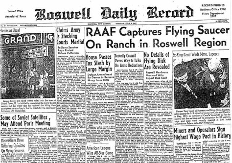 Roswell Daily Record from July 9, 1947 detailing the Roswell UFO incident
