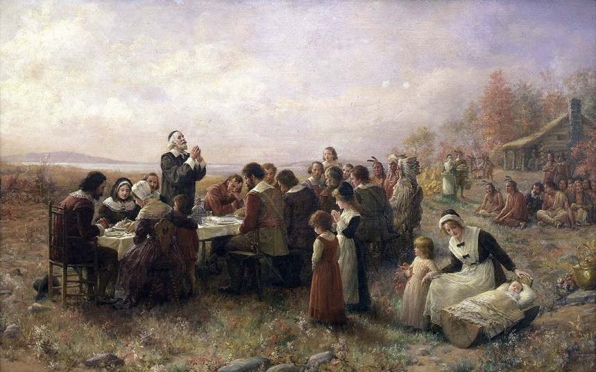 The First Thanksgiving at Plymouth (Jennie Augusta Brownscombe, 1925)