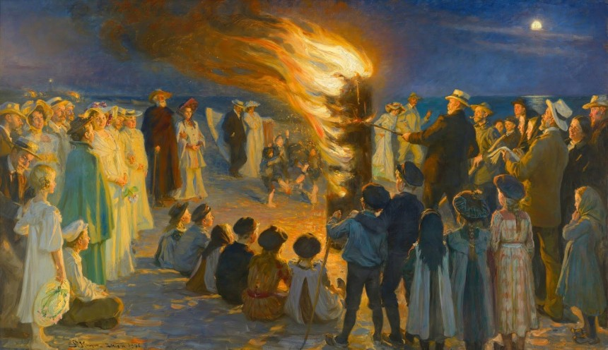 Midsummer Eve Bonfire on Skagen's Beach by P.S. Krøyer