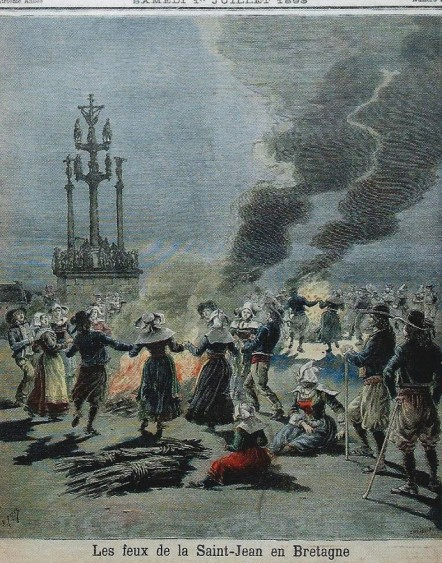 Midsummer-Saint John's Day bonfire festival in Brittany 1883
